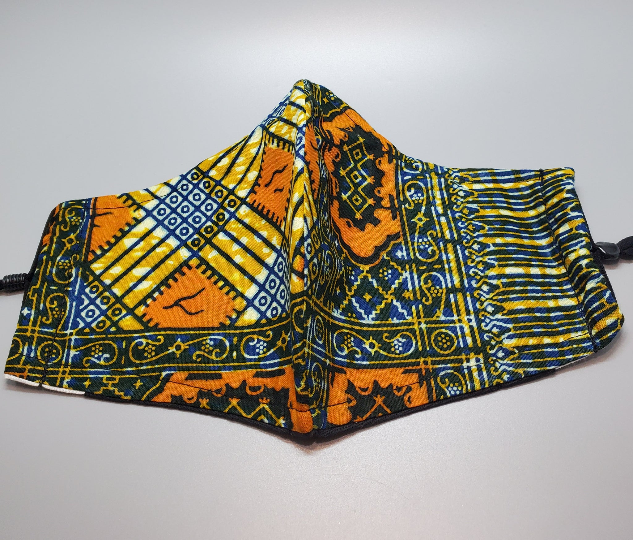 Mustard and Black Multi Ankara Cloth Face Mask