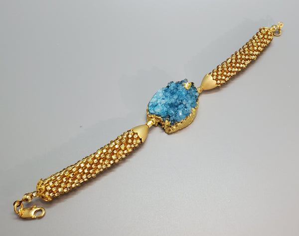 Gold Plated Blue Druzy Agate, Gold Topaz Czech Seed Beads Beaded Crochet Bracelet
