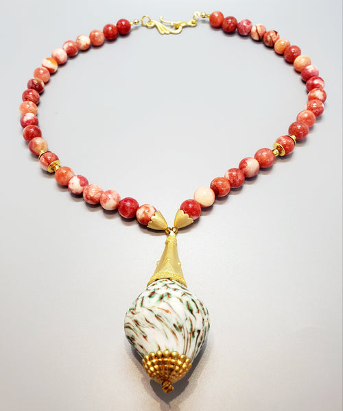White Green Multi Krobo Bead, Quartzite Beads, 22K Gold Plated Brass, Brass Necklace