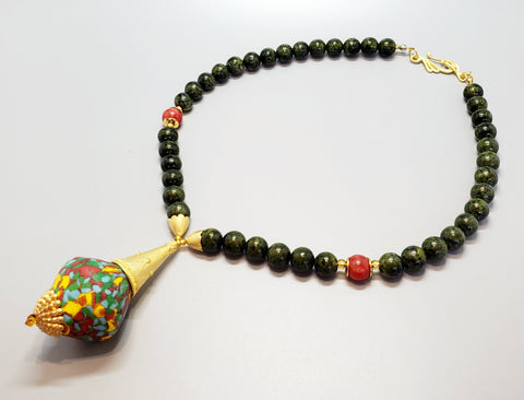 Dark Green, Red, Yellow Multi Krobo Bead, Quartzite Beads, 22K Gold Plated Brass, Brass Necklace