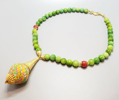 Green, Yellow, Red Multi Krobo Bead, Quartzite Beads, 22K Gold Plated Brass, Brass Necklace
