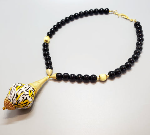 White, Black, Yellow Krobo Bead, Jasper Beads, 22K Gold Plated Brass, Brass Necklace