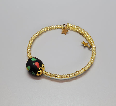 Green/Black Multi Krobo Bead Bangle