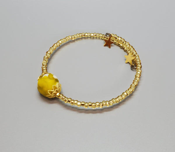 Yellow/White Krobo Bead Dainty Bangle
