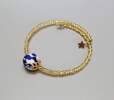 Blue/White Krobo Bead Dainty Bangle