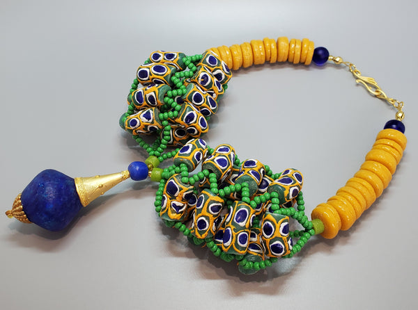 Blue Green Mustard Multi Krobo Beads, Brass, 3D Woven Necklace