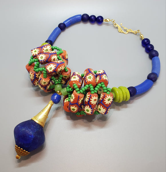 Blue Green Salmon Multi Krobo Beads, Brass, 3D Woven Necklace