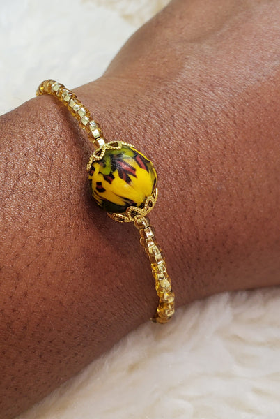 Green/Yellow Multi Krobo Bead Dainty Bangle