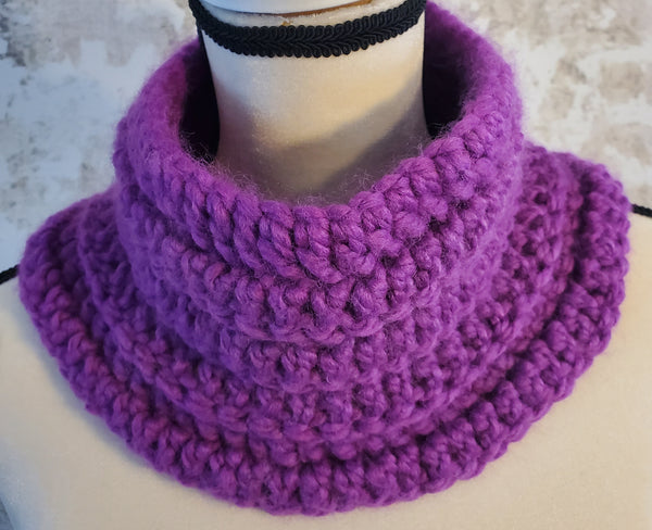 Purple Chunky Neck Warmer with Ankara Detail
