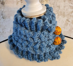 Chunky Light Blue Wrap Neck Warmer with Krobo Beads Detail