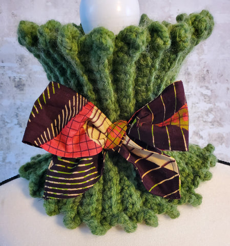 Chunky Green Neck Warmer with Ankara Fabric Tie