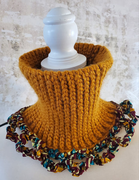 Wilmora Butterscotch Neck Warmer with Green Multi Ankara Fabric Detail