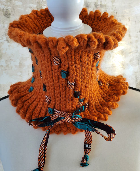 Missy Pumpkin Neck Warmer with Multi Ankara Fabric Detail.