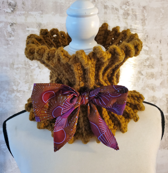 Chunky Light Brown Neck Warmer with Ankara Fabric Tie