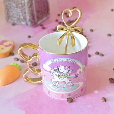 Top Grade Kitty Creative Ceramic Coffee Mug With Spoon