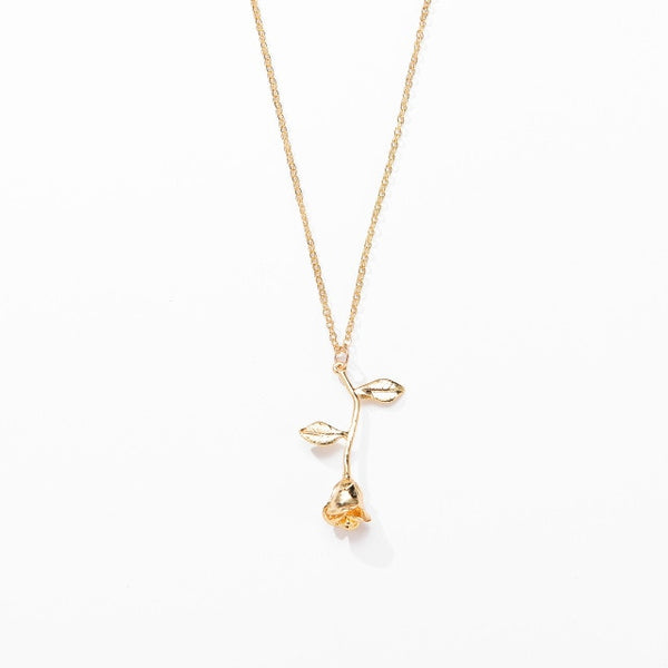 Gold Necklace with Rose Pendant