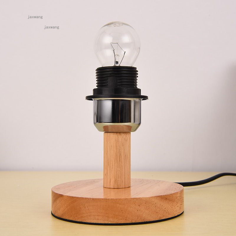 Europe Wood Fabric LED Lights Decoration Table Lamp