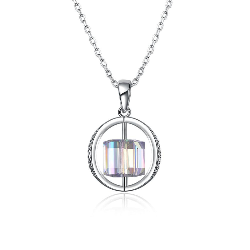 2.00 CT Aurora Borealis Swarovski Crystals Sterling Silver Flying Spinning Cube Necklace