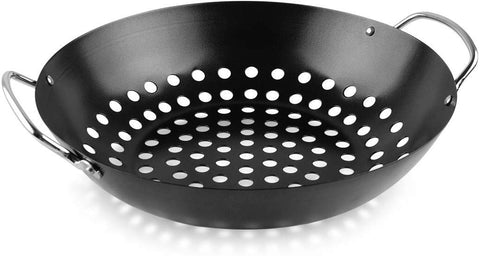 Mydracas Round Grill Wok with Handle for Big Green Egg Veggie Basket BBQ Accessory Barbecue Tools for M/L/XL Big Green Egg Accessories for StriFry,Shrimp,Meat&Vegetable Outdoor Camping Cookware