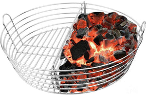 Mydracas Lump Charcoal Ash Basket Stainless Steel Big Green Egg Accessories Charcoal Fire Basket for XLarge Big Green Egg(with Divider)