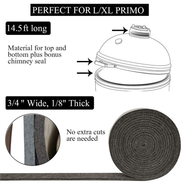 "Mydracas High Temp Grill Gasket Replacement Fit Primo Kamado Grill BBQ Smoker Gasket Pre-Shrunk Primo Accessories Self Stick Felt 14ft Long, 3/4"" Wide, 1/8"" Thick - mydracas"