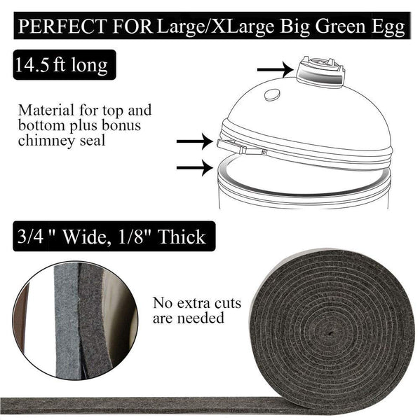 "Mydracas High Temp Grill Gasket Replacement Fit Large/XLarge Big Green Egg BBQ Smoker Gasket Pre-Shrunk Accessories Self Stick Felt 14ft Long, 7/8"" Wide, 1/8"" Thick - mydracas"