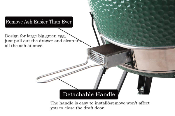 Mydracas Big Green Egg Accessories Ash Tool Slid Out ash Drawer Stainless Steel for Large Big Green Egg Accessories BGE Accessories Green Egg Replacement Parts ash Clean Tool - mydracas