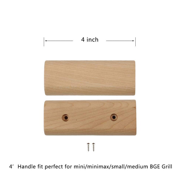 "Mydracas Outdoor Lid Handle Big Green Egg Wooden Handle Replacement Weathering Resistant Wooden Material Easy to Install with Screws fits Medium Small Mini Mini Max BGE Model Size(Brown-4"") - mydracas"