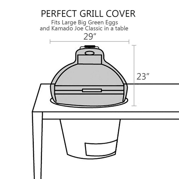Dome Grill Cover Big Green Egg Big Joe in Built-in Island,BGE Accessories Waterproof Outdoor Grill Cover,26,29,34 - mydracas