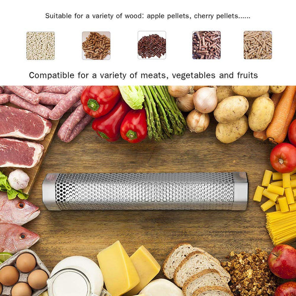 "Mydracas Wood Pellet Smoker Tube for Any Grill Electric Gas Charcoal 12"" 5 Hours Billowing Cold & Hot Smoking Chip Smoke Cheese Fish Pork Beef Nuts - mydracas"