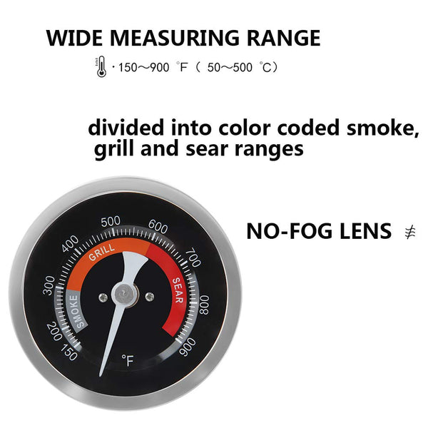 "Dracarys Grill Temperature Gauge Thermometer Replacement for Big Green Egg with 3.3"" Large Face,Big Green Egg Accessories Thermometer Replacement 150-900°F with Waterproof and No-Fog Glass Lens - mydracas"