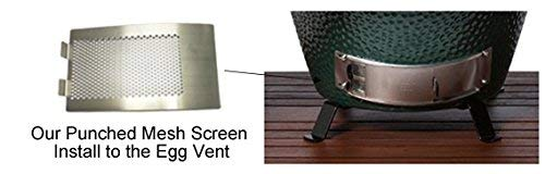 Mydracas Metal Punched BGE Mesh Screen Panel Big Green Egg Accessories Draft Door Screen, Big Green Egg Parts Stainless Steel Vent Screen BGE Grill Replacement Fits Medium and Large Big Green Egg - mydracas