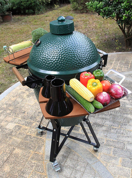 Mydracas Ceramic Chicken Roaster Rack Beer Can Chicken Stand Vertical Poultry Chicken Cooking BBQ Accessories, Non-Stick Ceramic Barbecue Tool for Big Green Egg, Kamado Joe, Ovens(Small+Large) - mydracas