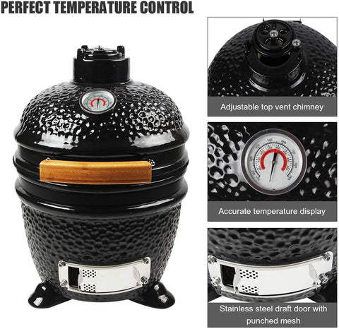 OLAMO  Grill Ceramic Grill Oven for Outdoor BBQ Grilling,Portable Versatile Mini Size Charcoal Egg Grill Smoker with Tripod Stand and Ceramic Feet,Black
