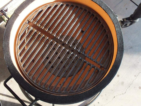 "Mydracas 18"" Half Moon Cast Iron Divide Conquer Cooking Grate for Large Big Green Egg and Classic Joe or Any 18 Inch Kamado Grill Barbeque Accessories Reversible Grate for Searing - mydracas"