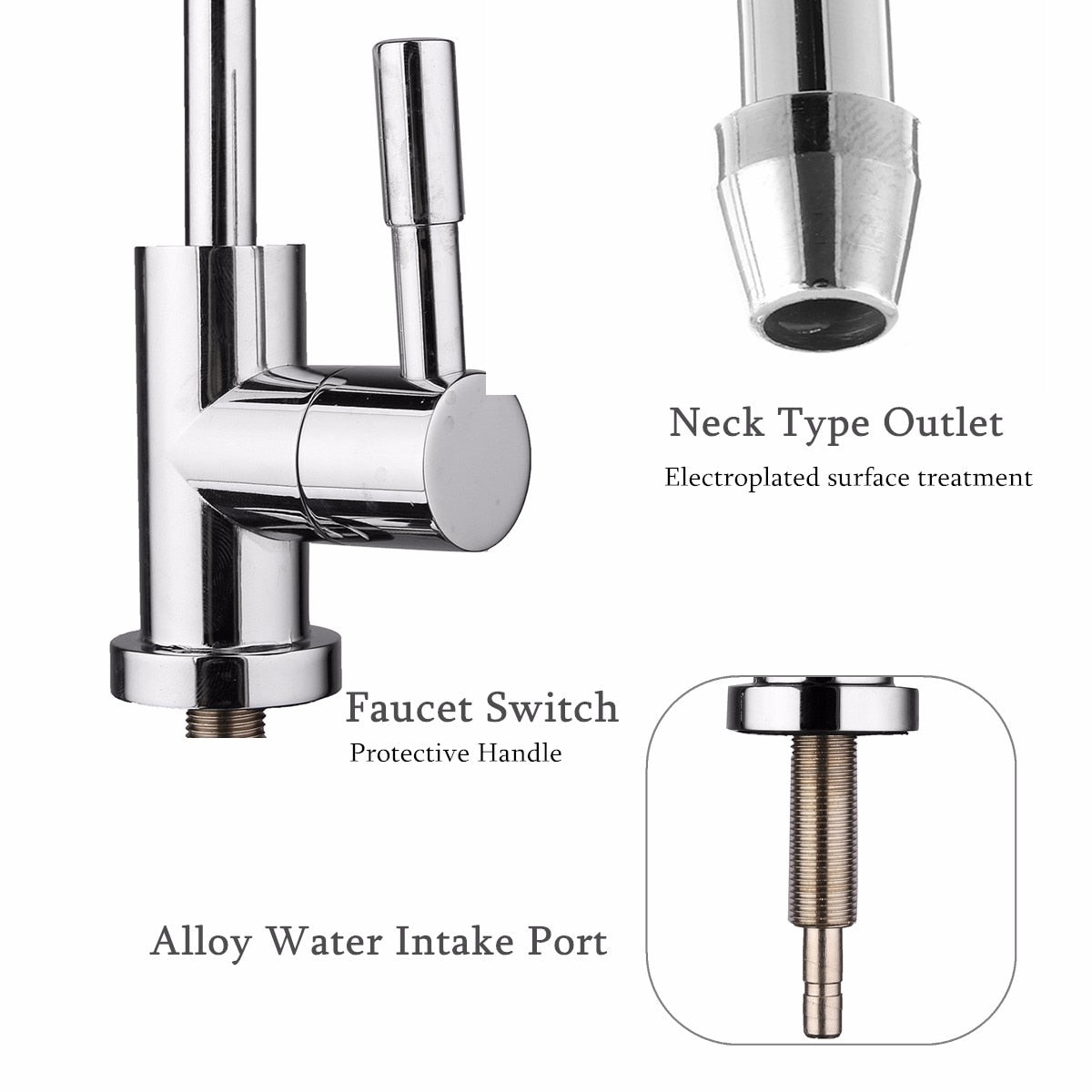 Kitchen Water Filter Faucet Chrome Plated 1/4 Inch Connect Hose Reverse Osmosis Filters Parts Purifier Direct Drinking Tap