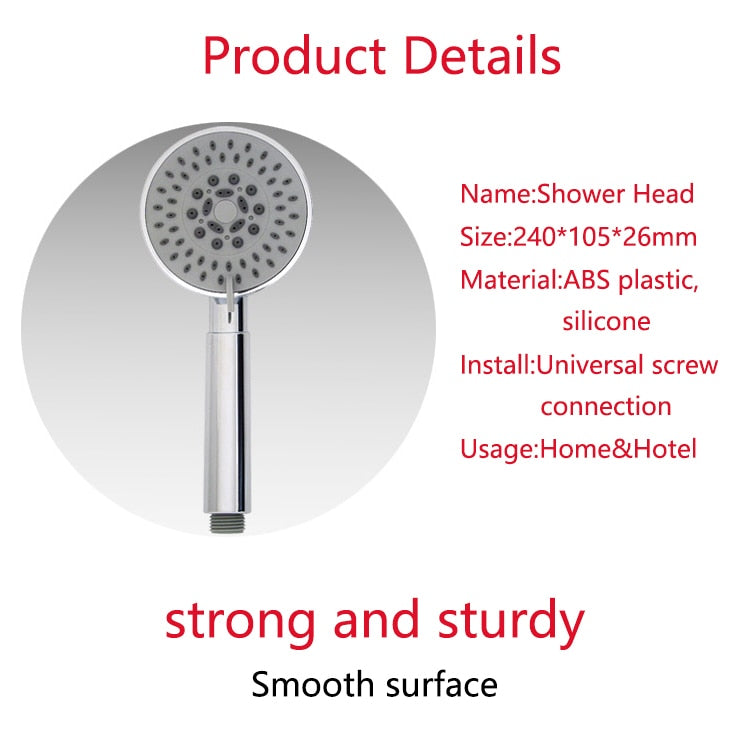 Zhang Ji Multi-Layered Electroplated Five Function Handheld Shower Head Bathroom Accessories Round ABS Nozzle Filter Showerhead