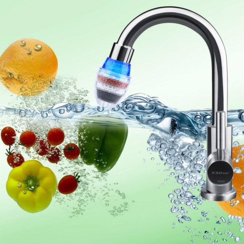 Kitchen Water Filter Faucet Tap Household Activated Carbon Water Purifier Remove Rust Sediment Filtering Tool Color Random