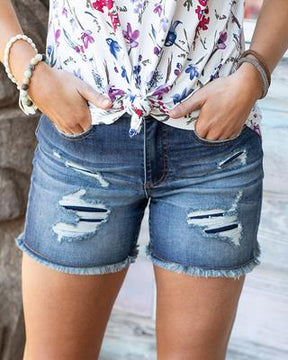 Grace and Lace - Patch Distressed Super Stretch Shorts - 2 color options
