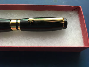 A Beautiful Hand Turned Water Buffalo Horn Ball Point Pen with 24ct Gold Plated Fittings.