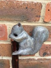 Load image into Gallery viewer, Hand Carved Grey Squirrel Walking Staff on a Crab Apple  Shaft.