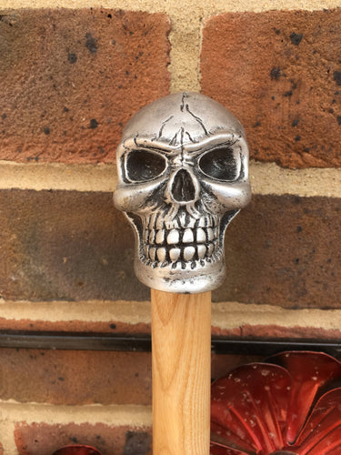 A Skull Handled Walking Stick on a Hand Turned and Hand Polished Ash Shank