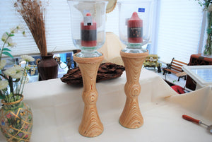 A Pair of Hand Turned Laminated Plywood Candle Holders with Hand Made Villeroy and Boch Glass Hurricane Lamps.