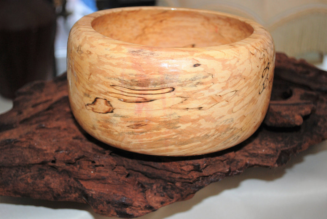Hand Turned and Hand Polished Spalted Beech Bowl