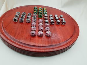 Marble Solitaire Board with Hand Made Glass Marbles on a Hand Turned Sycamore Base Collectable