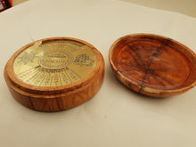 Load image into Gallery viewer, A Brass 100 Year Calender Within a Beautifully Hand Turned Yew Round Box. A pre Decimal Penny is secured to the Lid