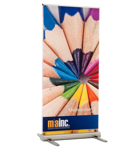 media screen 2 outdoor banner stand front