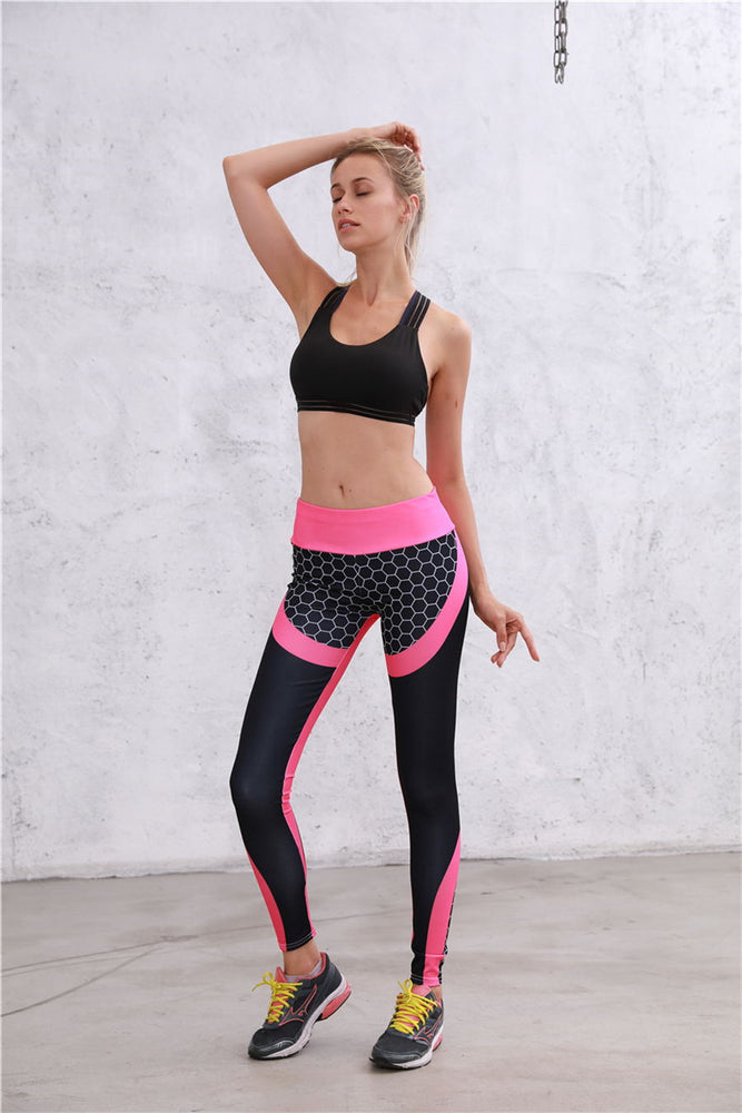 Legging Push Up en Nylon - Rose & Noir