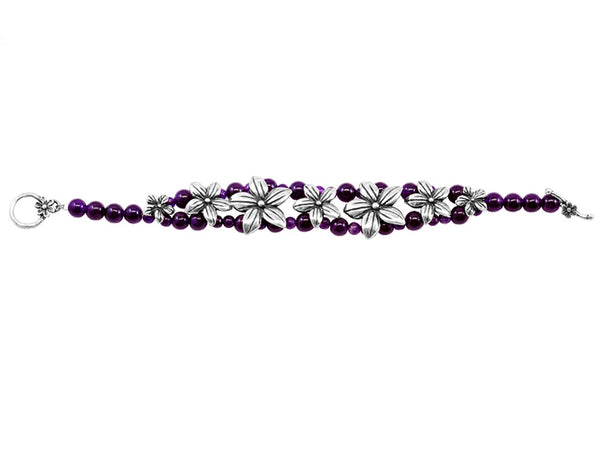 Silver Flowers and Amethyst Bracelet: Silver & Amethyst