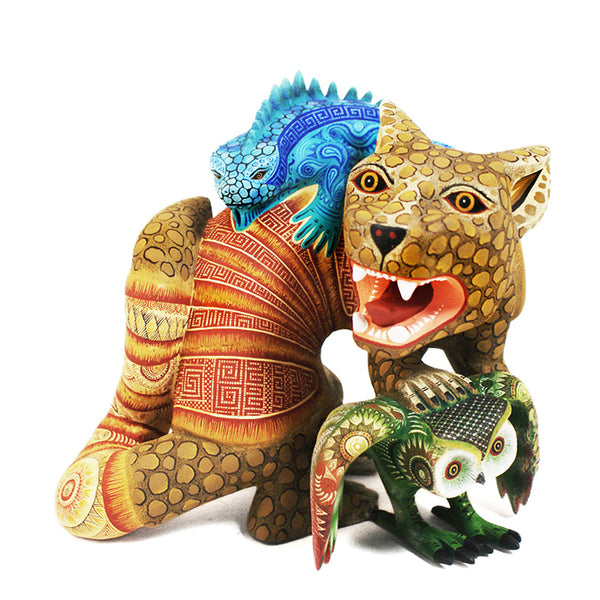 Rocio Fabian: Museum Quality Jaguar-Armadillo with Lizard & Owl